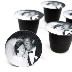 Coffee pods personalised with a wedding photo